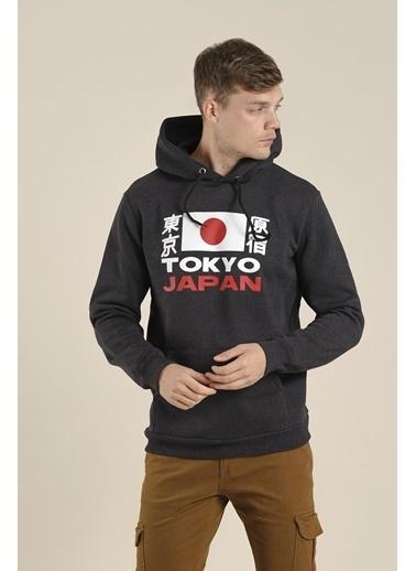 Oksit Lgg Tokyo Slim Fit Baskılı Polar Sweatshirt Füme